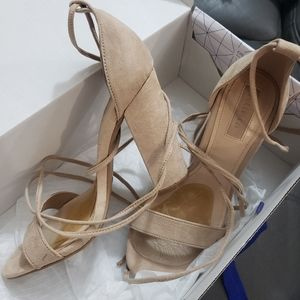⭐F21 Nude Suede Lace up Block Heels